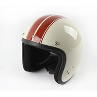 Wholesale Adult Motorcycle Helmet Xl - New Arrival Adult White and Red 3 4 Open Face Helmet Motorcycle Chopper Cruiser Helmets With Vintage Goggle Mask Wholesale Dot