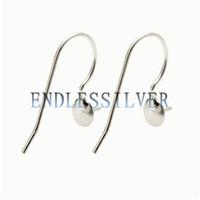 Wholesale Earwire Earrings - Fishhook Earring Settings Blank Base Simple Earwire 925 Sterling Silver Jewellery DIY Findings for Pearl Party