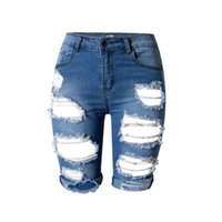 Wholesale Denim Cut Off - S-3XL 2017 Summer Women Denim Jeans Slim Skinny Ripped Hole Burrs Cut Off High Waist Knee Length Shorts Jeans Plus Size