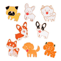 Wholesale cat teddies - 8 Pcs Set Cartoon Emamel Pin Set Cute Dog Cat Poodle Teddy Husky Lapel Badge Brooch Pet Lover Children Jewelry