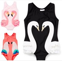 Ragazze INS Bikini Kids One-Piece Swimwear Costume da Bagno Swan Pappagallo Flamingo Swimwear Baby INS Beachwear Fashion Beach Copertina Kids Clothing