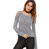 Maglie a manica lunga donna Womens Clothing Autunno Casual T-Shirt Grigio Marled Crisscross Hollow Out Open T-shirt a spalla