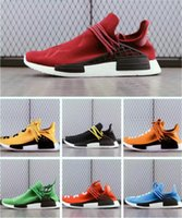 Wholesale Red Flat Shoelaces - Human Race NMD Pharrell Williams Original Women Men Yellow Red Green Black Orange NMD Running Shoes Sneakers With Box And Shoelaces