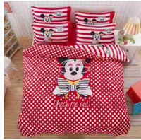 Wholesale Minnie Mouse Queen Size Bedding - Wholesale-Hot Selling 3pcs 4pcs oil print cartoon Girl bedding Pink Minnie Mouse Bedding Sets Home TextileTwin Full queen Size