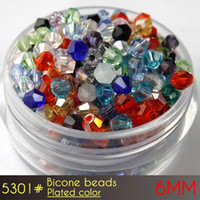Wholesale 6mm Glass Crystal Bicone - reflective glass crystal czech beads Bicone Beads 6mm Plating Colors A5301 50pcs set wholesale price with top quality