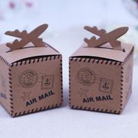 casamento avião venda por atacado-50 Pcs Caixa de Doces de Avião de Papel Kraft Decoração de Tema de Viagem de Casamento Chá de Bebê Lembranças Favores Do Partido Caixa de Presente