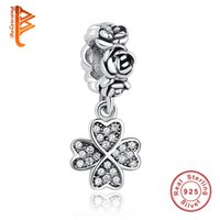 Wholesale Lucky Heart Bracelet 925 - BELAWANG 925 Sterling Silver Heart Lucky Four-Leaf Clover Crystal Pendant Charm Fit Pandora Charm Bracelet&Necklace Beads Jewelry Making