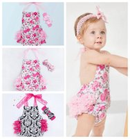 Wholesale Next Wholesale Kids Clothing - Newborn Baby Clothes Infant Girl Romper Boutique Girls Clothing Next Kid Jumpsuit Toddler Ruffle Floral Outfit With Headband Pajamas Sunsuit