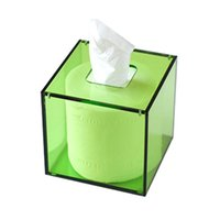 Wholesale Roll Tissue Dispenser - Wholesale- Square Facial Acrylic Tissue Box Cover Napkin Dispenser for Roller Paper YTB003-3