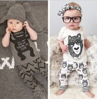Wholesale Boys Pajamas 18 Months - 2017 Boy Girls Baby Clothing Sets bowtie bear tshirts Pants 2Pcs Set Cotton Toddler Cartoon Pajamas Home Infant Boutique Clothes Outfit