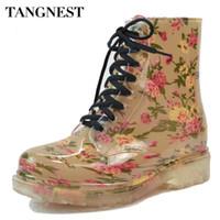 Wholesale lace up rain boots women - Wholesale- Tangnest 2016 Women's Rain Boots Spring Round Toe Rubber Shoes Floral Leopard Lace-Up Ankle Boots Woman Big Size 36-40 XWX2327