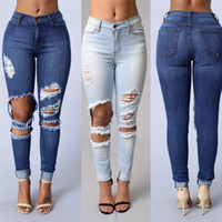 Wholesale Womens Plus Denim - New Design Plus Size Fashion Trousers Womens Ladies Celeb Stretch Ripped Skinny High Waist Denim Pants Jeans Free Shipping CL253