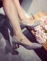 Wholesale Low Heeled Silver Shoes Wedding - hot! fashion luxury women U710 genuine leather glitter diamond low heel mary jane shoes dance heels silver party wedding m