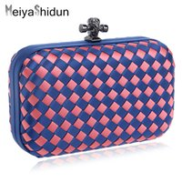 Wholesale Key Phone Holder Shapes - Wholesale-MeiyaShidun luxury women candy color Wove evening bags chain shoulder Clutches Dinner party wedding package Purse Girls Handbags