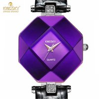 Wholesale Death Note Case - watch death note anime Kingsky Fashion Women Watches Purple Crystal Case Leather Band Luxury Quartz Watch Ladies A1268-4