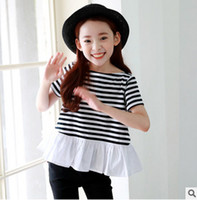 Wholesale Splice Round Neck Shirt - Big girls T-shirt 2017 summer new children cotton stripe short sleeve tops korean style kids round collar splicing falbala T-shirt T0816