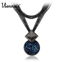 Wholesale Long Swarovski Necklace - Viennois Gun Plated Long Necklaces of Blue Crystals from Swarovski for Woman Dual Length Luxury Round Necklaces