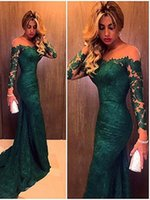 Wholesale trailing flowers - High Collar formal Mermaid Evening Dresses 2016 New Lace Applique Perspective Trailing Gown Sexy Beauty Prom Dress Plus Size