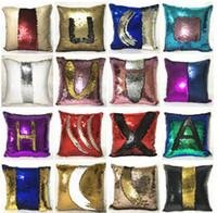 Wholesale Navy Throws - 40x40cm Luxurious Reversible Sequin Mermaid Sequin Pillow Magical Color Throw Pillow Home Deco Cushion Decorative Pillowcase