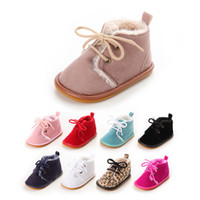 Wholesale fur boots newborn - New Suede Leather with Fur solid Newborn Baby shoes toddler Girl boy First Walkers shoes lace-up super warm Plush boots
