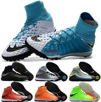 Wholesale Indoor Soccer Shoes Free Shipping - 2017 Soccer Football Shoes Men Hypervenom Phantom DF TF Waterproof Soccer Cleats Boots Indoor Sports Shoes Free Shipping Size 6.5-11