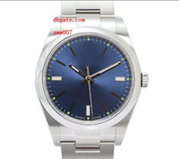 Wholesale Mens Watches Automatic Perpetual - Factory Supplier Luxury AAA Brand Wristwatches Sapphire Perpetual 39mm No Date Domed Blue Dial 114300 Automatic Mechanical Mens Watches