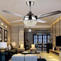 Wholesale Brushed Steel Lamp - Modern Crystal ceiling fan light dining room living room Fan light ceiling Continental Crystal Light Lamp with Remote Control 110V 220V