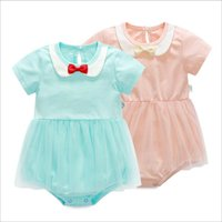 Wholesale Kids Coveralls Wholesale - Baby Rompers Grils Bowknot Summer Jumpsuits Kids Short Sleeve Tulle Skirt Romper Toddler Cotton Fashion Onesies Newborn New Coveralls L1