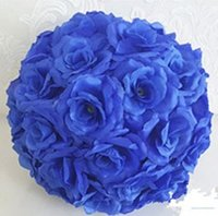 Wholesale Romantic Party Themes - Romantic Theme Dark Blue Artificial Silk Flower Ball Hanging Kissing Balls 15 cm to 60CM Ball For Wedding Party Decoration Supplies