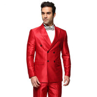 Wholesale custome made suits - Wholesale- Red Men Suits With Pant Custome Made Fashion Tuxedos Latest Design Gentlement Style Double Breasted Suits(Jacket+Pant+Bowtie)