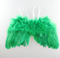 Wholesale Baby Wings Photo - Newborn Baby Wings Costume Photo Angel Prop Outfits Angel Feather Wings Wraps kids cosplay props gift several colors for chose