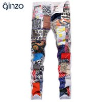 Wholesale Spliced Jeans - Wholesale-Men's fashion colored patch spliced jeans Casual white denim pants Slim straight long trousers