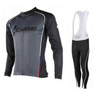 equipo de ciclismo pro cubo al por mayor-Pro Team cube Cycling Jerseys de manga larga para hombre otoño / primavera Cycling Clothing 100% poliéster de secado rápido mtb bike shirt / bib / pants D2402