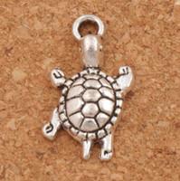 antike tiere großhandel-Kleine Schildkröte-Schildkröten-Tier-Legierungs-Charme-Anhänger 23x12.2mm 100Pcs / lot antike silberne Schmucksachen DIY L1174 heiß