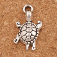 Wholesale Animals Turtles - Little Turtle Tortoise Animal Alloy Charms Pendants 23x12.2mm 100Pcs lot Antique Silver Jewelry DIY L1174 Hot