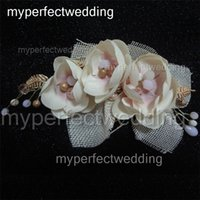 Wholesale Cheap Stone Accessories - New Arrival Hot Bridal Party Hair Flowers Real Photos High Quality Cheap Price Cream Pink Fabric Wedding Hair Accessory with Unique Stones