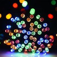 açık renkli çok renkli ışıklar toptan satış-Çok renkli 72ft 200LED Güneş String Işık, Açık için Uygun, Veranda, Çimen, Peyzaj, Bahçe, Ev, Düğün, Tatil
