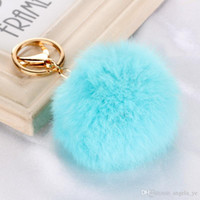 Wholesale Toy Earrings Wholesale - 2017 Real Rabbit Fur Ball Keychain Soft Fur Ball Lovely Gold Metal Key Chains Ball Pom Poms Plush Keychain Bag Earrings Accessories Angela