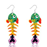 Dangle & Chandelier owl woman painting - fashion creative gift animal pendant earrings acrylic painted cartoon Big eyes owl drop earrings for women jewelry