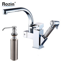 Wholesale Bronze Hose - Wholesale- Deck Mount Swivel Spout Kitchen Sink Faucet Deck Mount Flexible Hose Mixer Tap Chrome Finish