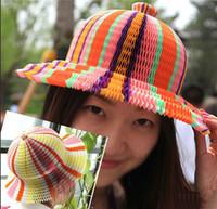 ingrosso vasi di moda-Cappelli monouso berretto a velo da esterno moda cappello da sole forma ondulata e forma S tappi di carta di buona qualità