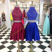 photos de robe rouge achat en gros de-Bling Bling Crystals Homecoming Robes 2017 Fall Deux pièces robe de forme court Jupe courte Vin rouge Royal Blue High Collar Real Pic
