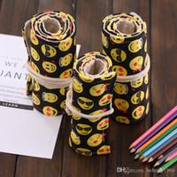 Wholesale Fabric Paint Supplies - Roll Pencil Bag Canvas Cartoon Emoji 36 Holes Large Capacity Draw Painting Volume Bags Art Supplies Pen Curtain Box 7 2sh F R