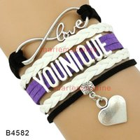 Wholesale Infinity Charm Bracelet Silver - (10 Pieces Lot) Infinity Love Younique Heart Charm Wrap Bracelet Purple Black White Multilayer Leather Cuff Wrist Band Jewelry