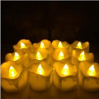 Wholesale Decoration Flame Light - 24pcs Yellow Flicker Battery Candles  Plastic Electric Candles  Flameless Tea Lights For Christmas Halloween Wedding Decoration
