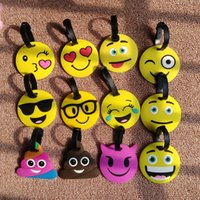 Wholesale Wholesale Kid Suitcases - Kawaii Emoji Smiley Suitcase Luggage Tag Cartoon PVC ID Address Holder Baggage Label Identifier Gift For Kids b1296
