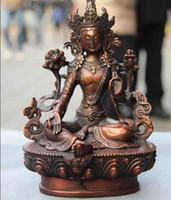estatua de tara al por mayor-Budismo Rojo Cobre Verde Tara Guan Yin Kwan-yin Boddhisattva Diosa Estatua