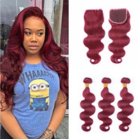Wholesale Wine Hair Color - Bright 99J Brazilian Virgin Hair With 4*4 Lace Closure Burgundy Body Wave With Closure 4Pcs Lot Wine Red Human Hair Bundles With Closure