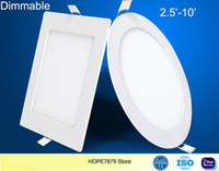 Wholesale Dimmable Ceiling Lamp 3w - Dimmable 3W 6W 9W 12W 15W 18W 24W LED Recessed Ceiling flat panel light downlights home lamp 2.5'-10' AC110 220V Thin Round Square SMD2835