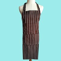 Wholesale Wholesale Canvas Apron Pockets - Fashion Plain Apron brown and white stripe Hanging neck with Front Pocket Kitchen Cooking Craft UK Baking Home Cleaning Tool Accessories